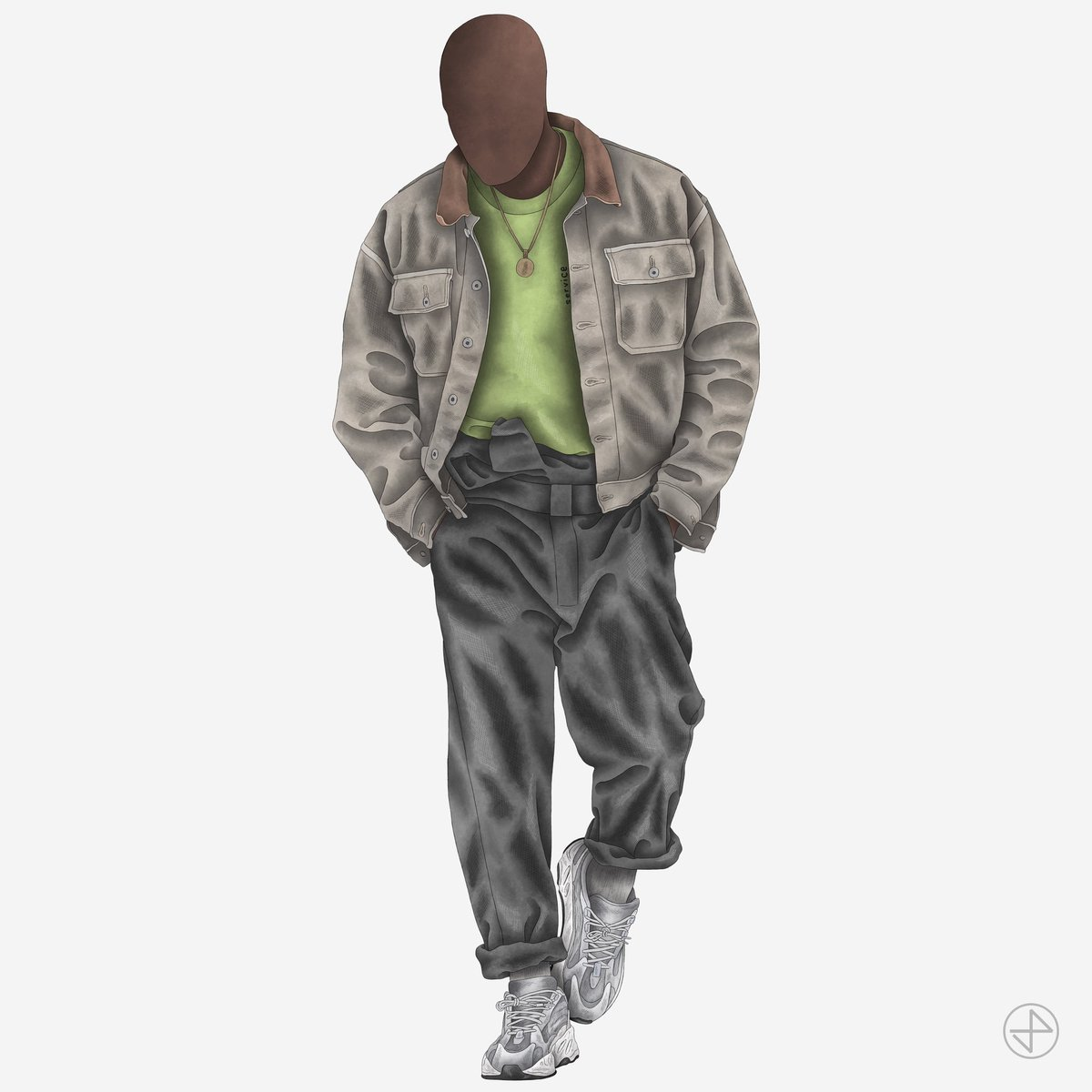 """#YEEZYFITOFTHEWEEK is ye himself wearing SEASON 5 Canvas Jacket, SEASON 6 Workwear Jumpsuit and YEEZY BOOST 700 V2 """"Static"""" sketched by our brother @JordanPrileszky ✏️✨"""