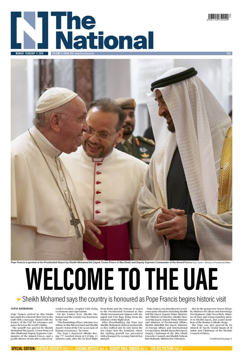 Tomorrow's special edition of The National marks the historic occasion of the arrival of Pope Francis in the UAE #PopeFrancisInUAE #البابا_فرنسيس_في_الإمارات