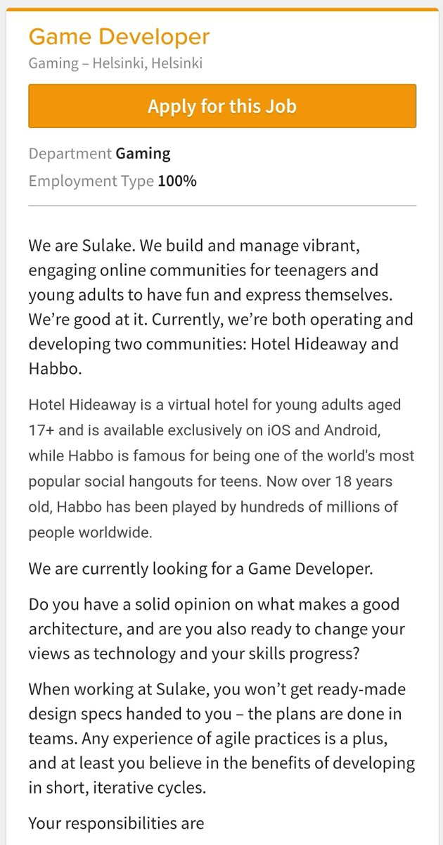 #Sulakegames is looking for a new #game #developer. Feeling interested? 😉