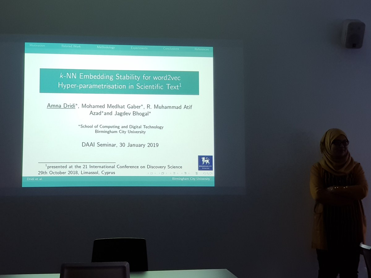 DAAI Research Seminar 30th Jan 2019 Our PhD student Amna