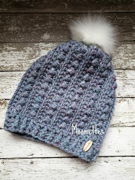 ff83ccd95d8 Chunky Women s Slouchy Pom Pom Hat - Icelandic Blue Gray Handmade Textured  Beanie Removable White Fur