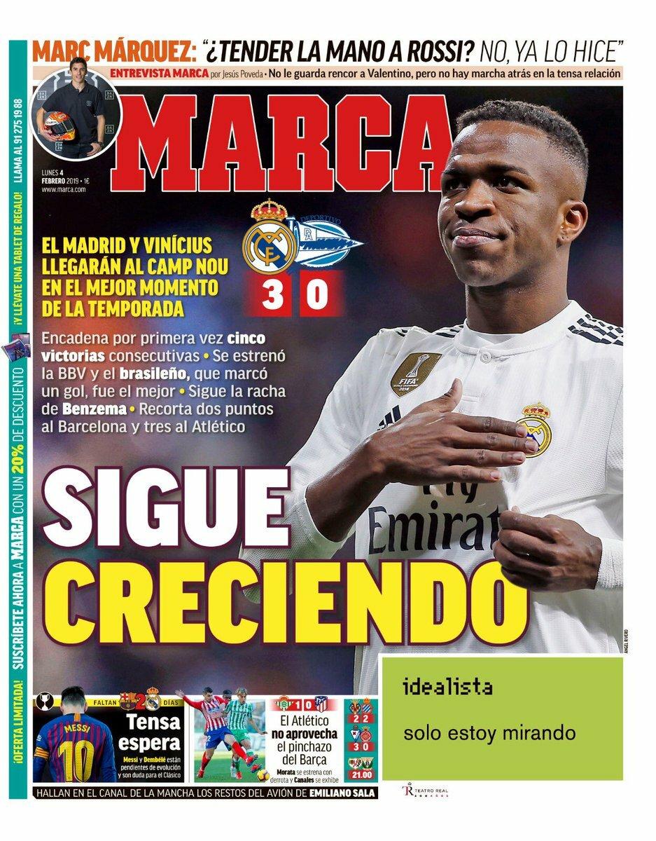 «Sigue creciendo». Así titula el diario @MARCA su portada de hoy. El @realmadrid llegará al Camp Nou en el mejor momento de la temporada después de ganarle al @Alaves por 3-0. Gran encuentro de @Benzema y también de @vini11Oficial, el nuevo ídolo del #EstadioSantiagoBernabéu.