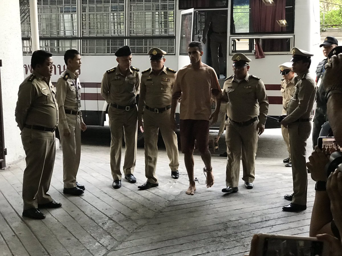 """Hakeem Al-Araibi has arrived at a Bangkok court. His legs were shackled. His message: """"don't send me to Bahrain""""  #savehakeem"""