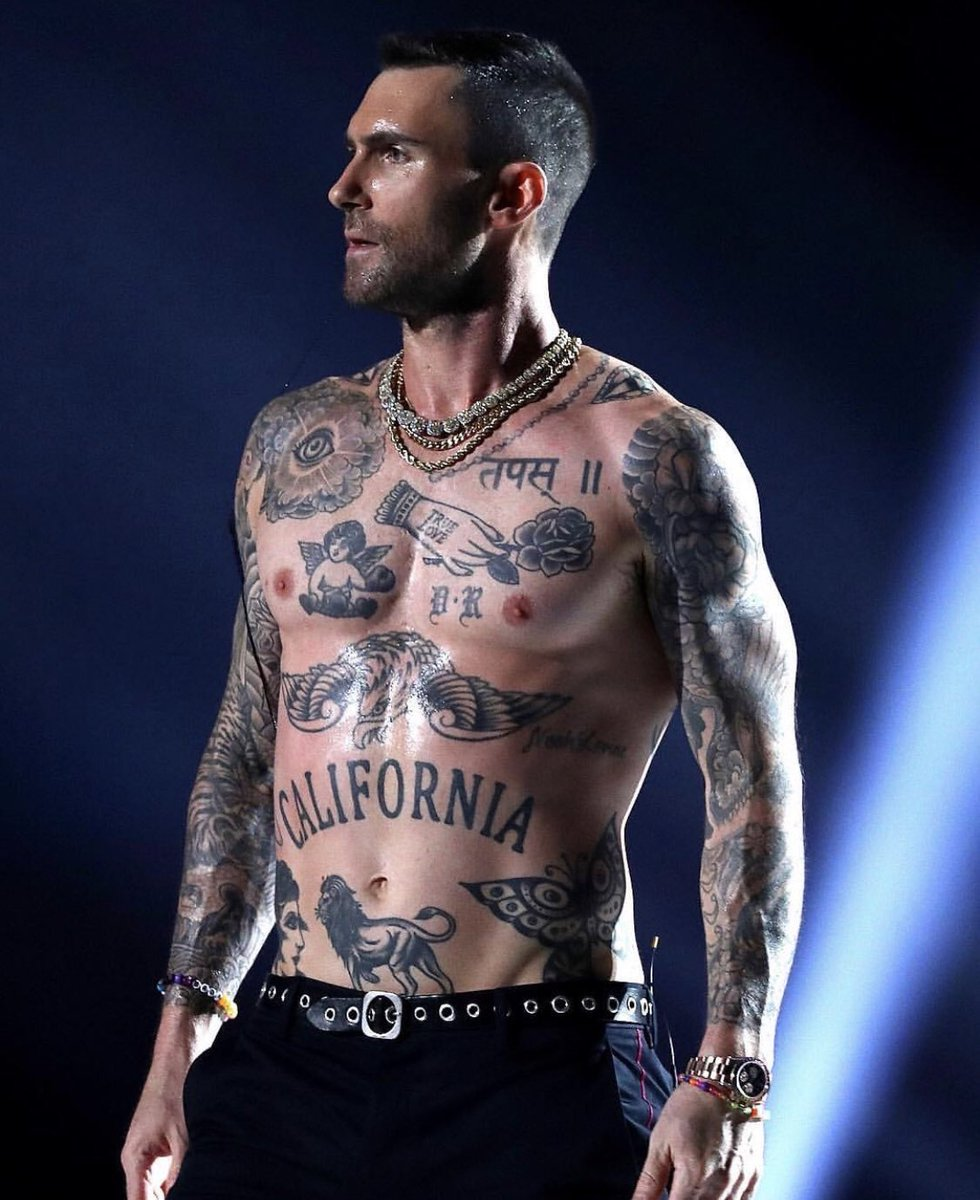Adam Levine's body looks like the vision board of a bro who owns a vape shop.
