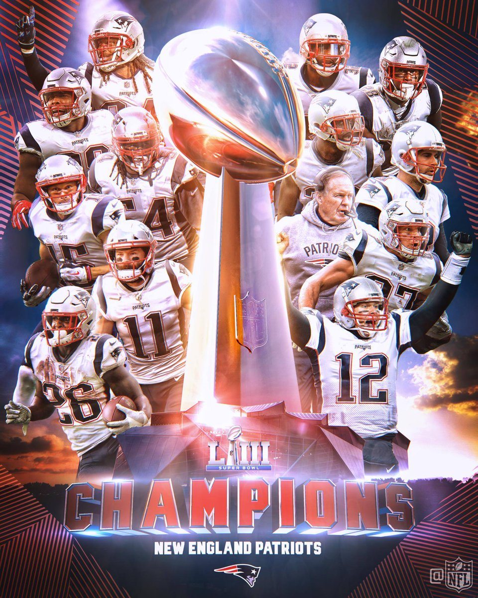 Your Super Bowl LIII Champions, the New England Patriots! #SBLIII https://t.co/Ozz0pLK8po