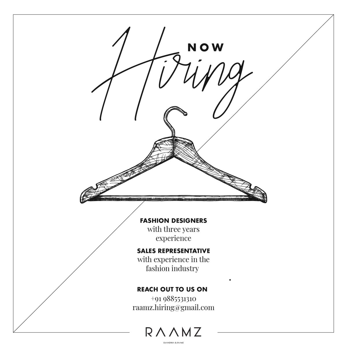 Raamzofficial On Twitter We Are Growing And Looking For Passionate Fashion Designers And Sales Representatives With Prior Experience In Fashion Industry If That S You Share Your Cv And Portfolio On Raamz Hiring Gmail Com