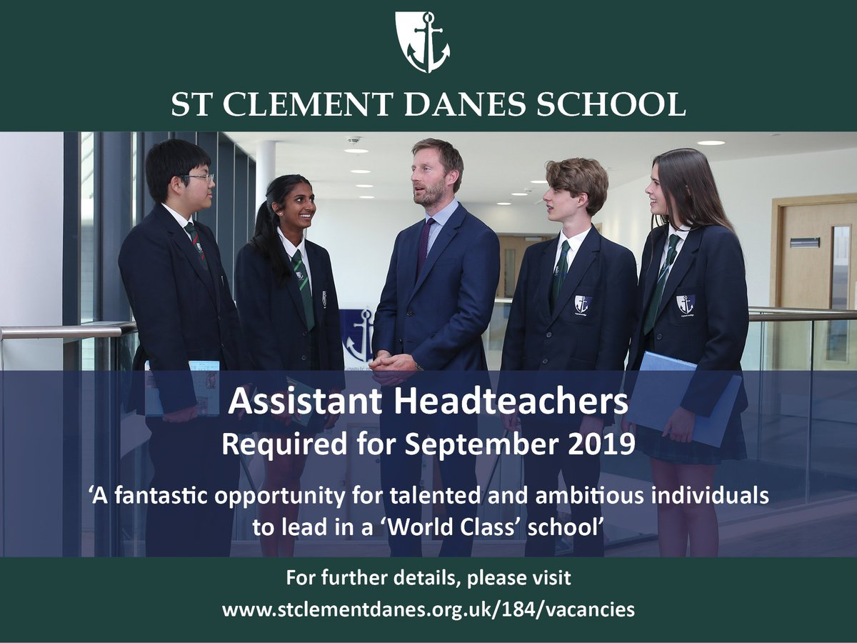 Last chance to apply: Fantastic opportunities to join us as Assistant Headteacher at this 'World Class' state secondary school. Details: https://t.co/goXdEsOIDR #teachingjobs #teachingvacancyuk https://t.co/krXEUSnIwo