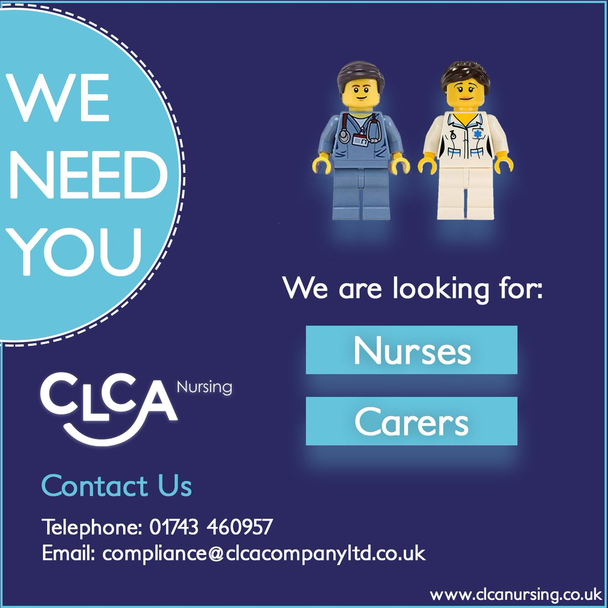 We are always on the look-out for nurses and carers to join the CLCA team.  Contact us to find out more 😁  #CLCA #Nursing #Nurse #Nurses #Carer #Carers #Recruitment #JoinUs