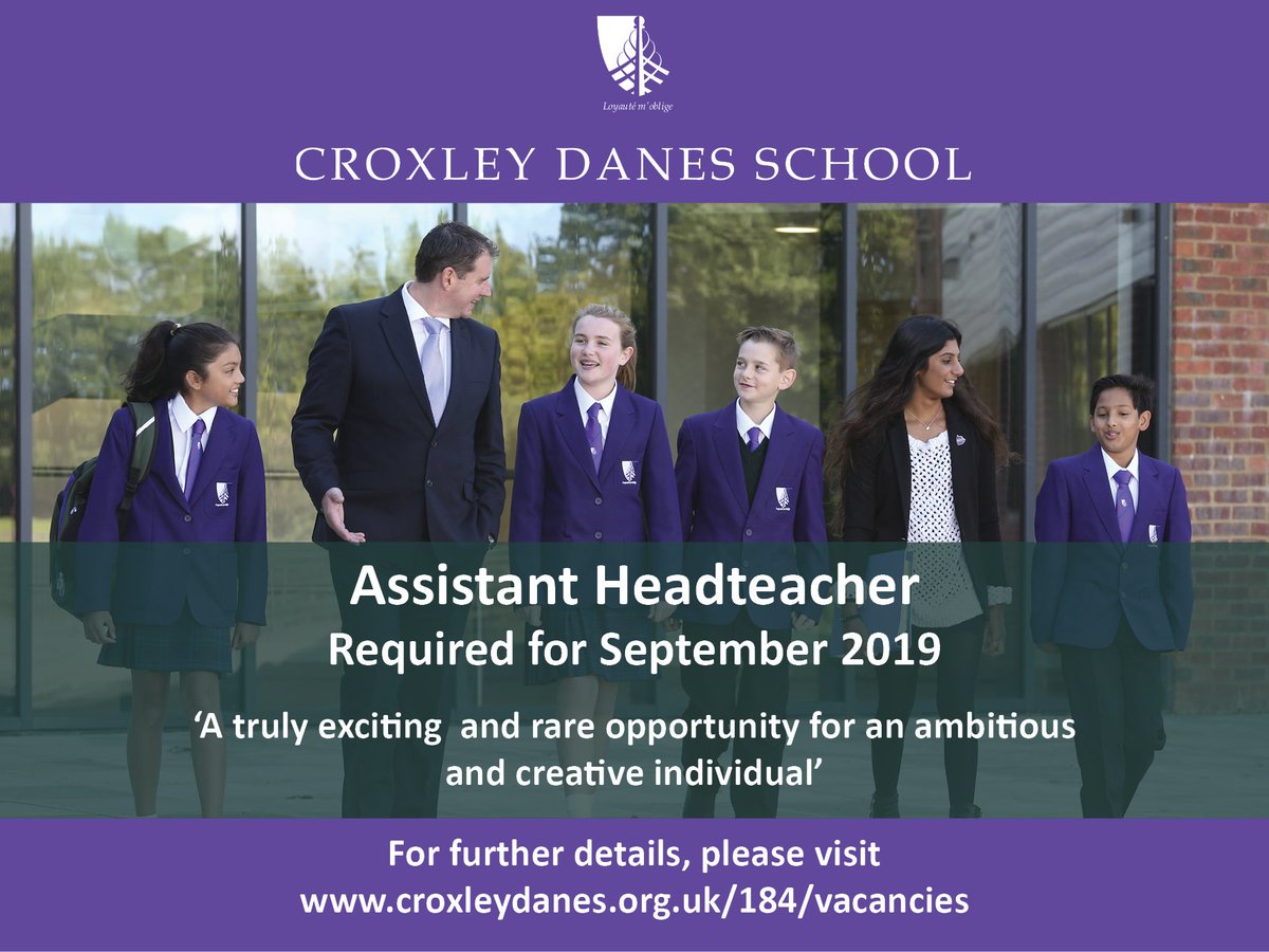 Last chance to apply: an exciting and rare opportunity to join us as Assistant Headteacher at our new, oversubscribed secondary school in South West Hertfordshire. Details: https://t.co/Ebq5Wk4pVy #teachingjobs #teachingvacancyuk https://t.co/NnJ8ui7iJh
