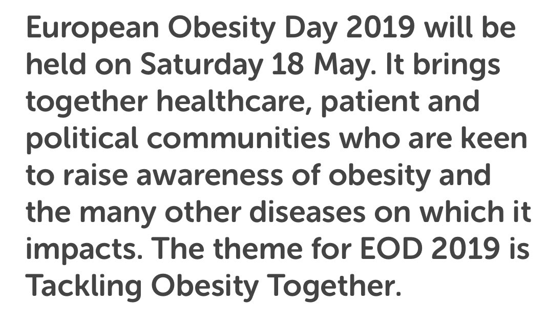 European #Obesity Day #EOD2019 is just a few months away! What will you do to engage with your local and national campaigns this year? Here are just some of the great events organised last year