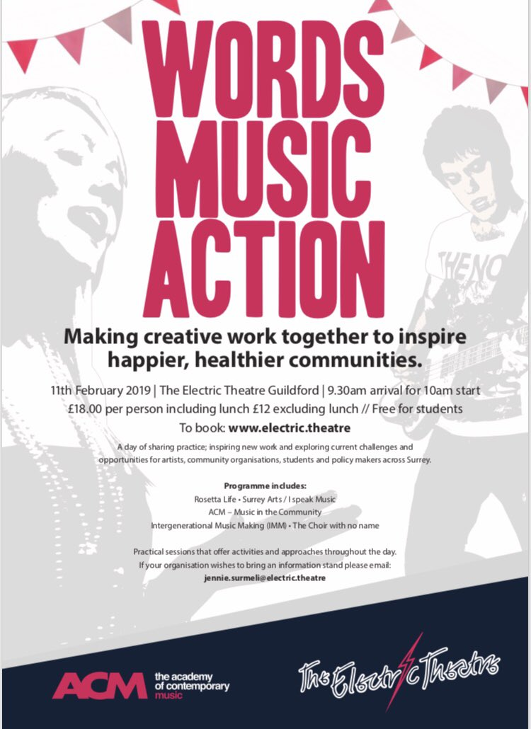 How can we engage our graduates & young artists in professional #communityarts practice? @acm_uk a day of ideas generation & case studies for those interested in the power of music & arts in our community FREE for artists, students & volunteers @ElectricTheatre @elenaramona90
