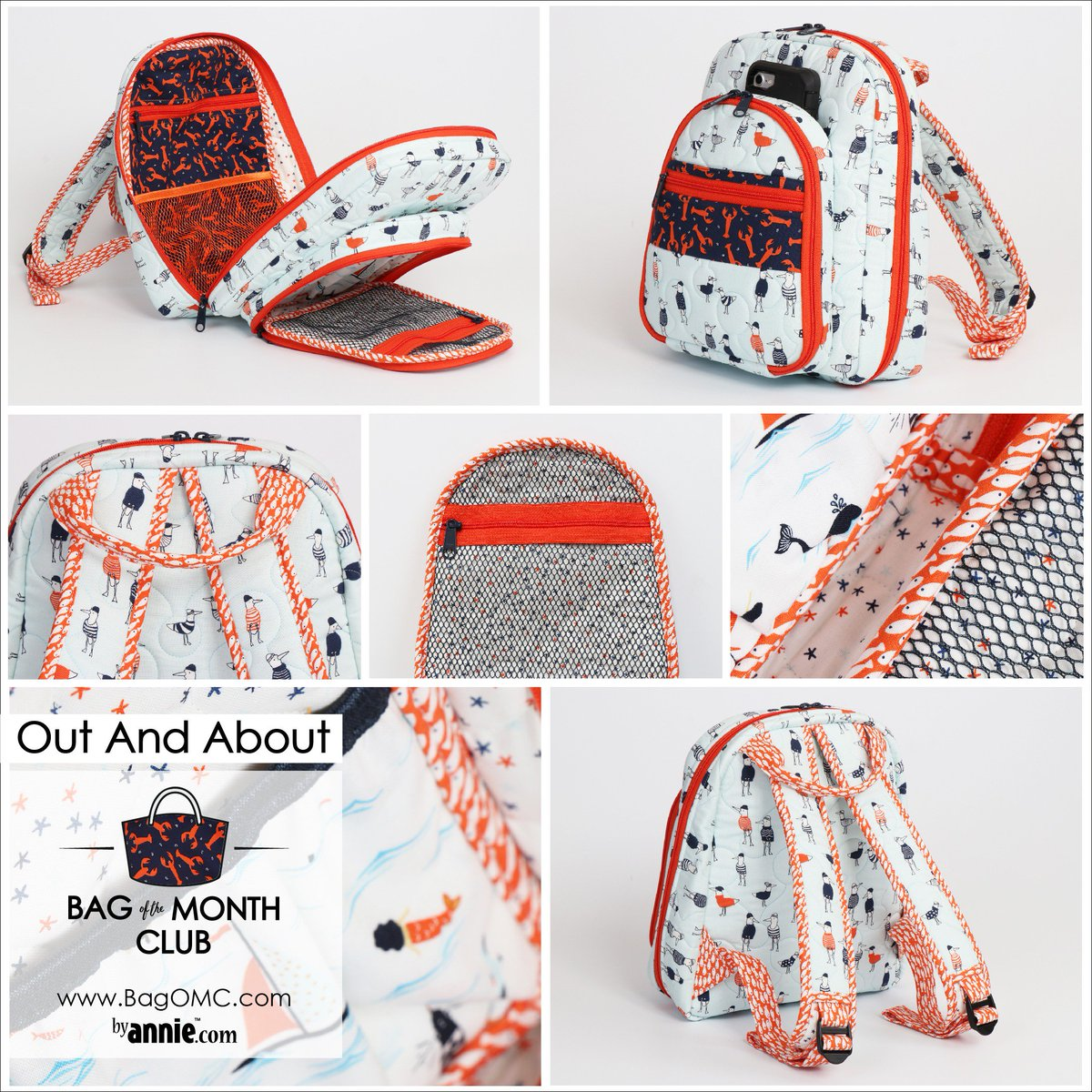 Take a look at our newest bag pattern Out And About, exclusively available to members of the Bag Of The Month Club... sign up today at http://www.bagOMC.com! Fabric by @dearstellafab  #bagomc #bagofthemonthclub #newpattern #patternsbyannie #knapsack #bagmaking
