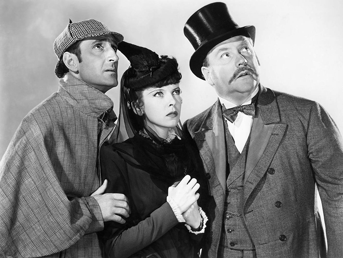 """The Tinseltown Twins on Twitter: """"Ida Lupino with Basil Rathbone and Nigel  Bruce in The Adventures of Sherlock Holmes (1939). The film revived Lupino's  film career as her roles were getting fewer"""