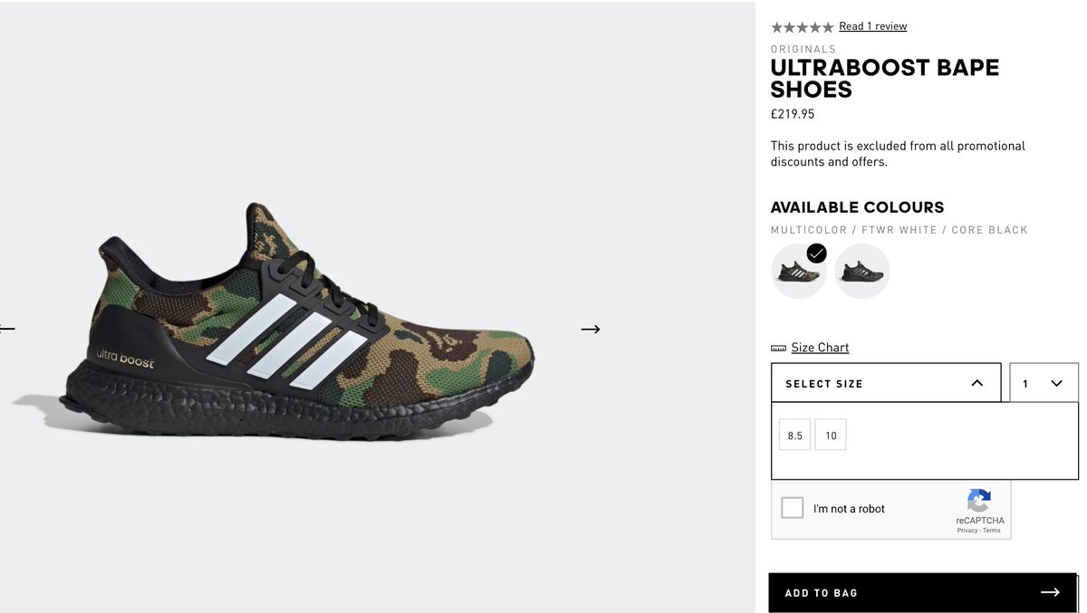 sizes BAPE x adidas Ultra Boost