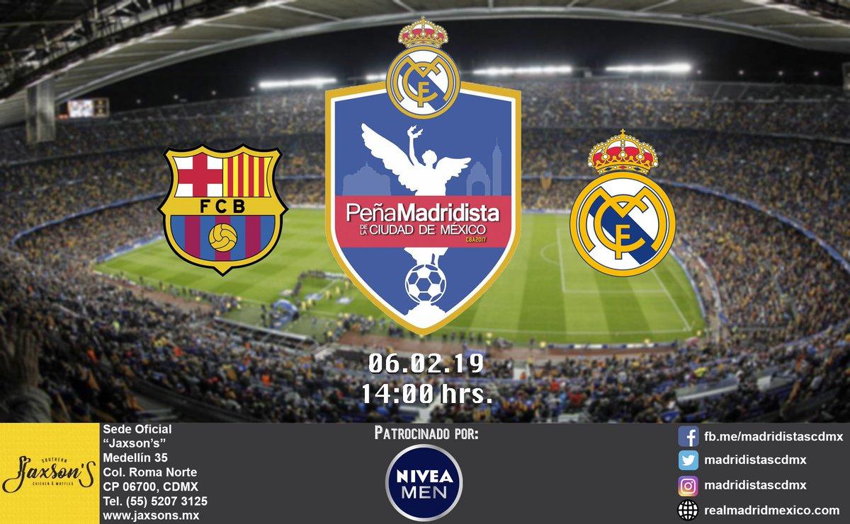 Copa del Rey  Amig@s peñistas, nuestro siguiente rival es el Barcelona en el partido de ida de la semifinal, acompáñanos en @JaxsonsCDMX para apoyar con todo al equipo y sacar avante la eliminatoria.  #HalaMadrid #APorLa20 #PeñaMadridistaCDMX