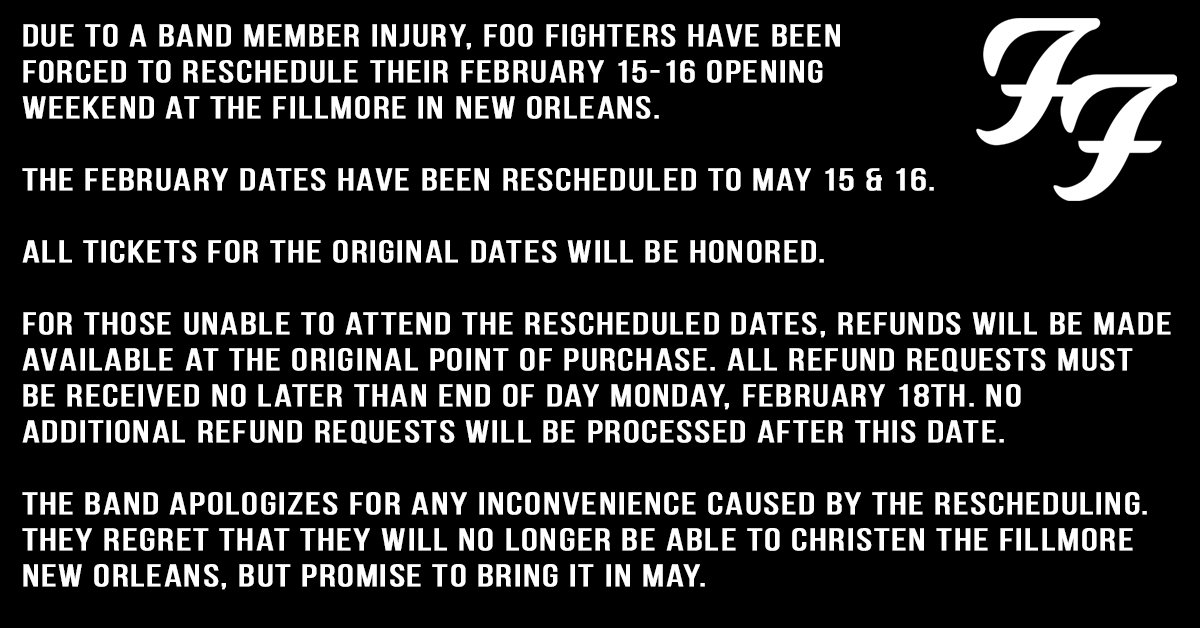 An update on the upcoming New Orleans, LA shows. Please read below.