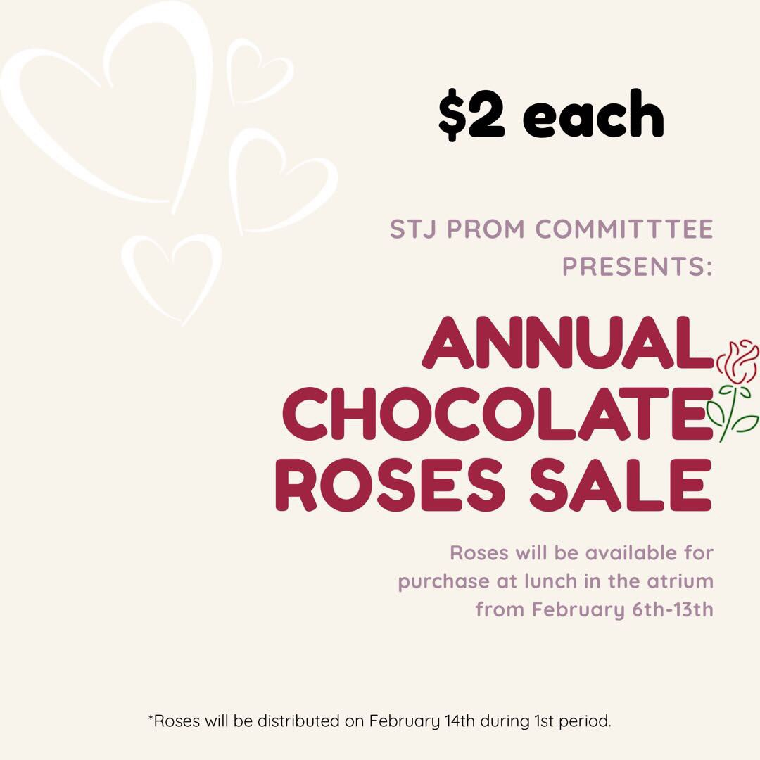 Hey Lasers! Prom is coming up....but what's coming even sooner is Valentine's Day! Make sure to buy your friends, lover(s), or everything in between some chocolate roses to help support our prom! 🥰
