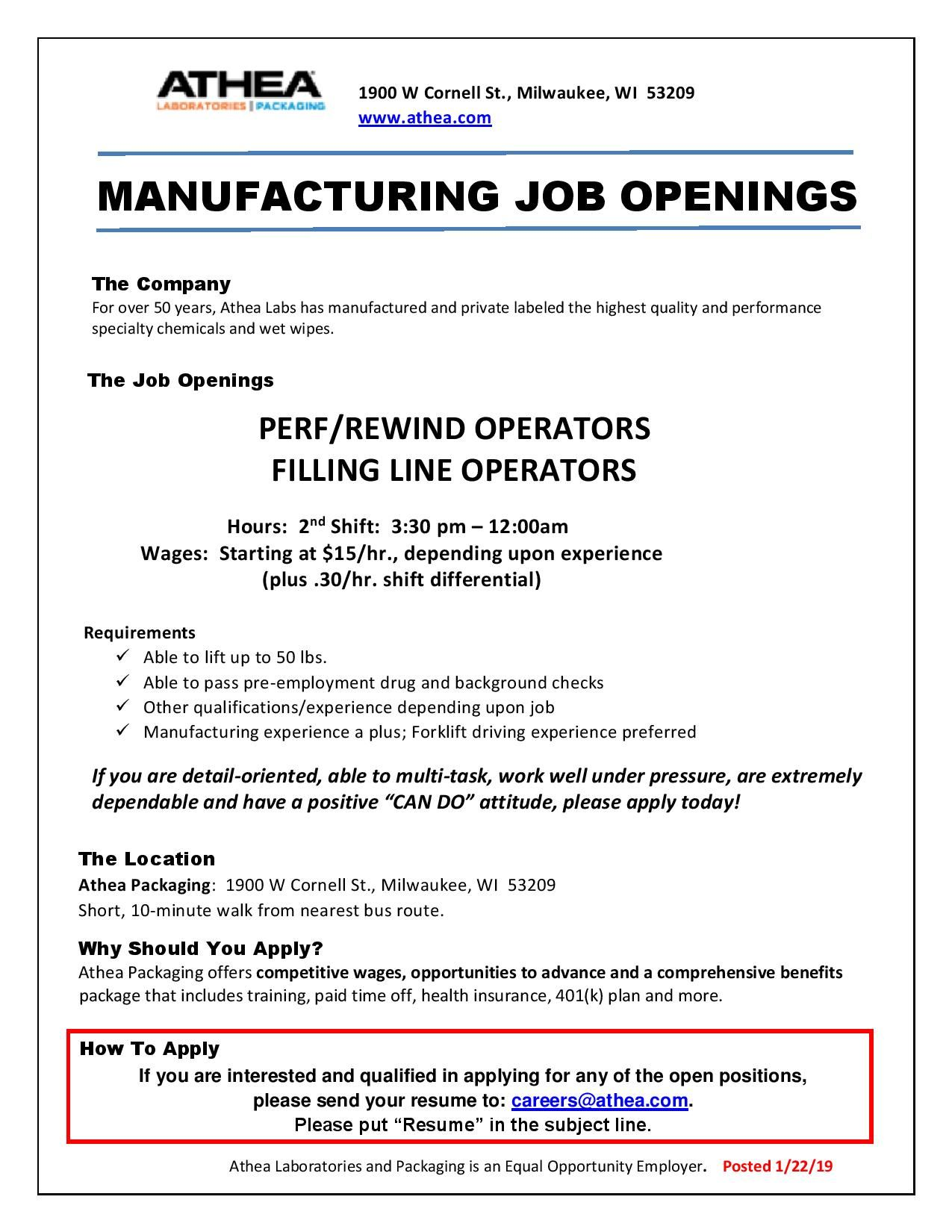 Employ Milwaukee On Twitter Athealabs Are Looking To Fill Positions For Perf Rewind Operators And Filling Line Operators Starting Wage Is 15 Hr Depending On Experience To Apply Please Send Your Resume To Careers Athea Com