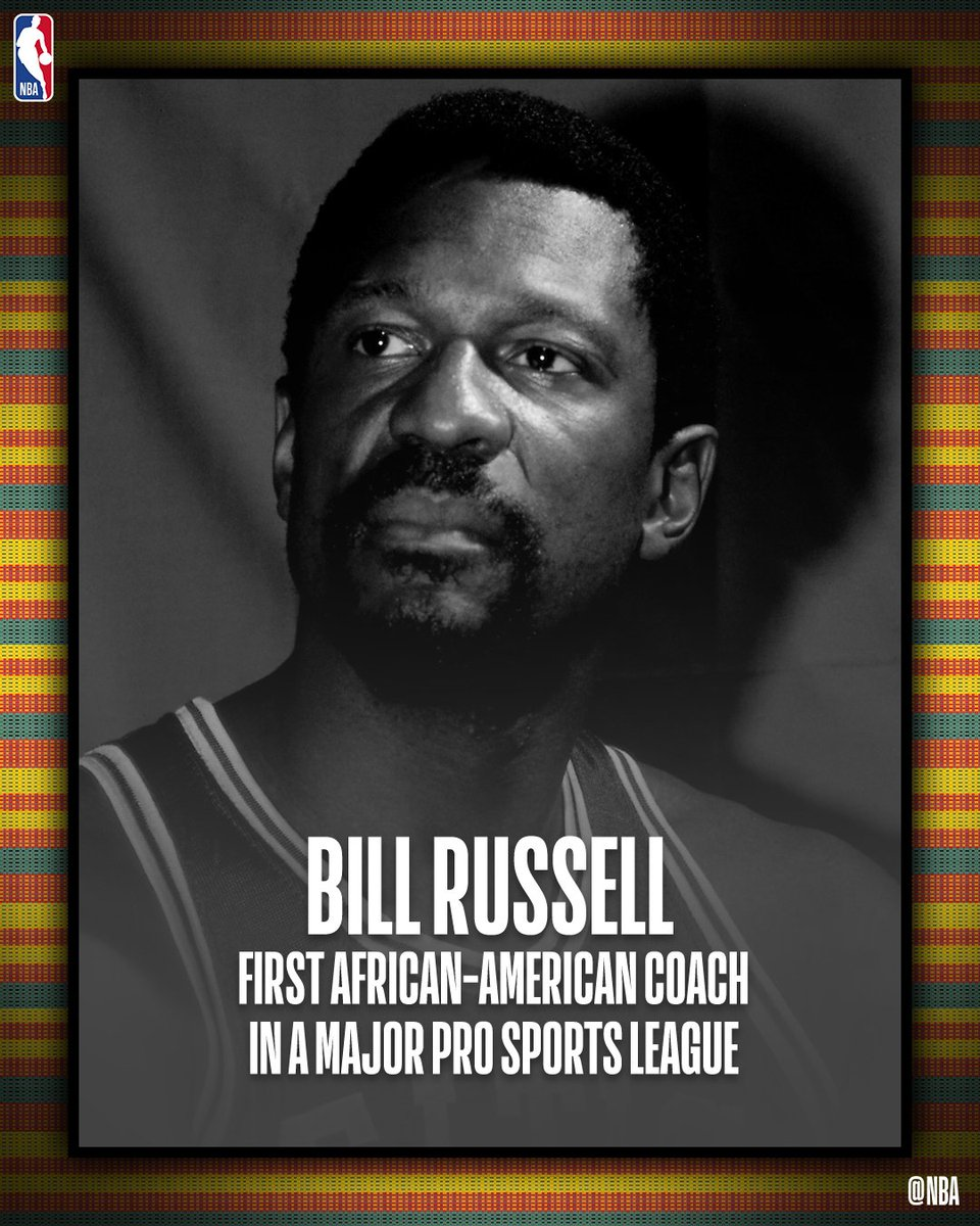 Bill Russell... first African-American coach in a major pro sports league.   #NBABHM #NBAVoices #BHM