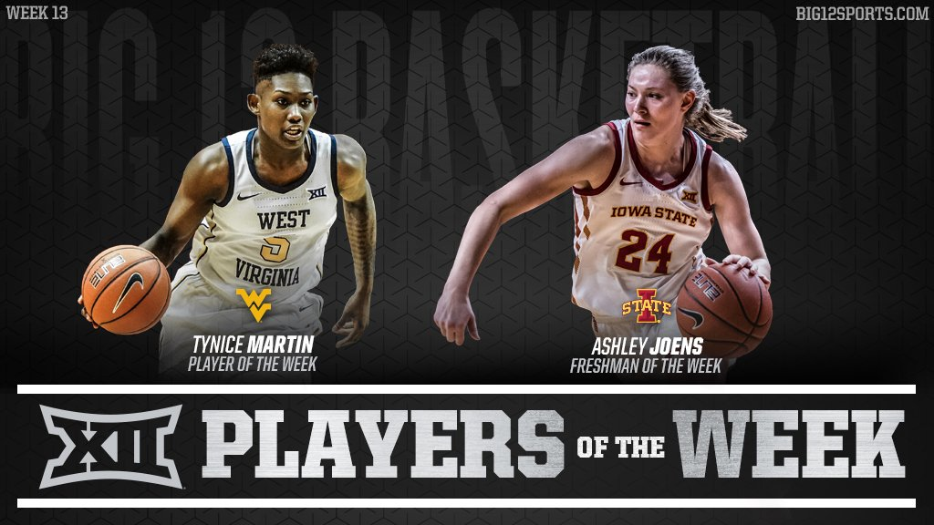 Week 1⃣3⃣ of #Big12WBB:  🏀 Martin: netted a season-high 27 points in WVU's win at No. 12 Texas. 🏀 Joens: connected on 4-of-9 from three-point range and finished with 16 points in a victory at K-State.  More » https://big12.us/2t96qBL.