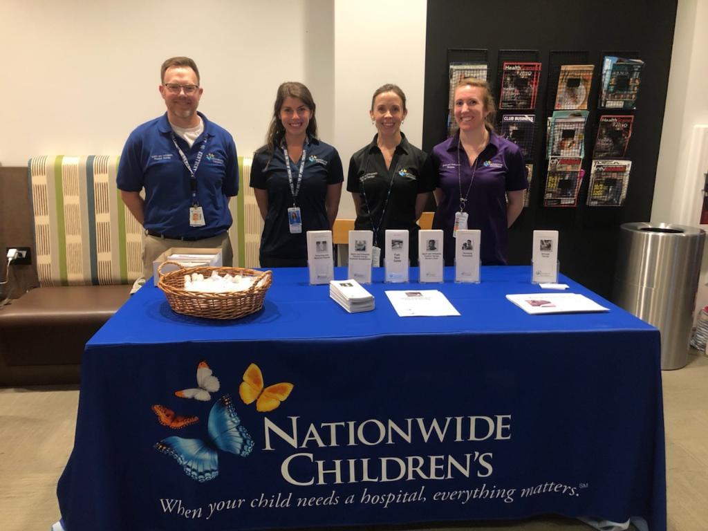 Our physical therapists had fun volunteering at the kid's health fair last Thursday @HealthNewAlbany!