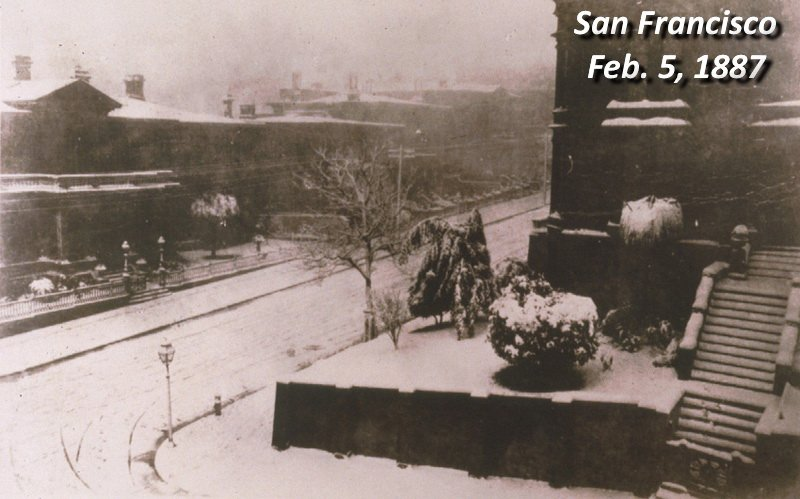 Historically, February 5th has been San Francisco's snowiest day.  See http://ggweather.posthaven.com/february-5th-bay-area-snow-but-not-like-1887-or-1976…