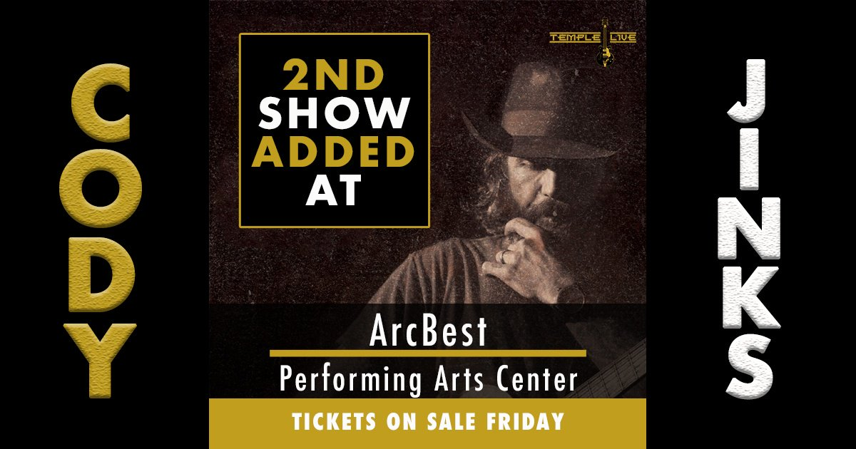 JUST ANNOUNCED!!  Cody Jinks March 2nd at ArcBest Performing Arts Center presented by TempleLive!  Tix on-sale this Friday at 10am via TempleLive Box Office