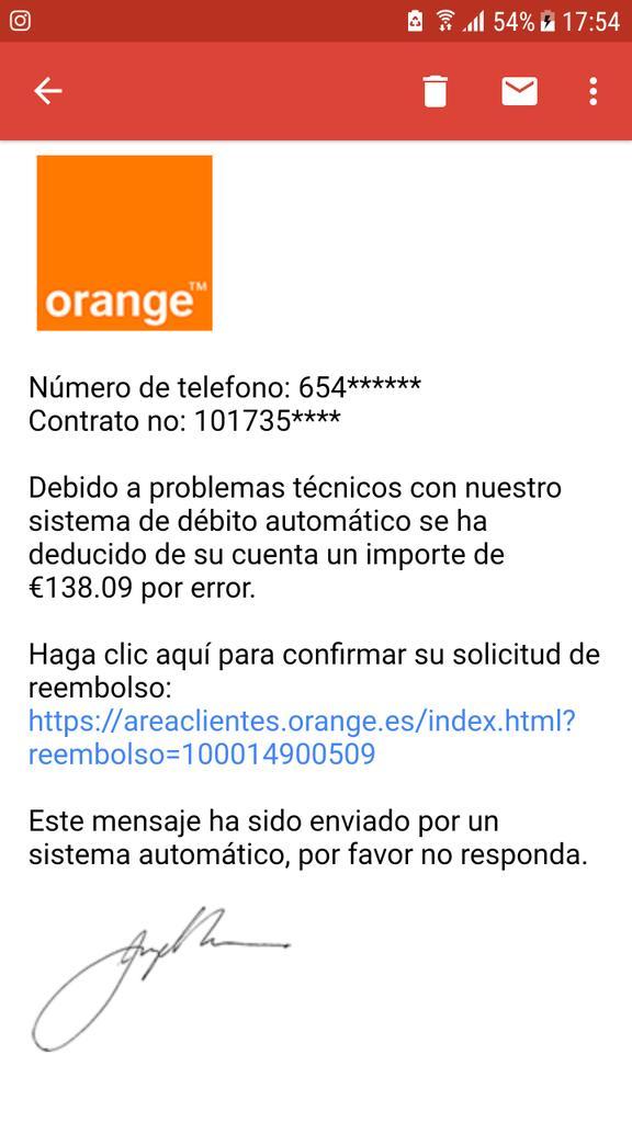 Ejemplo de phising o suplantación de identidad en un correo electrónico. Mucho cuidado y no hagáis click si no estáis seguros de su autenticidad.  Remitente : atencion@m8-orange.com @policia @orange_es  #amigosdeloajeno