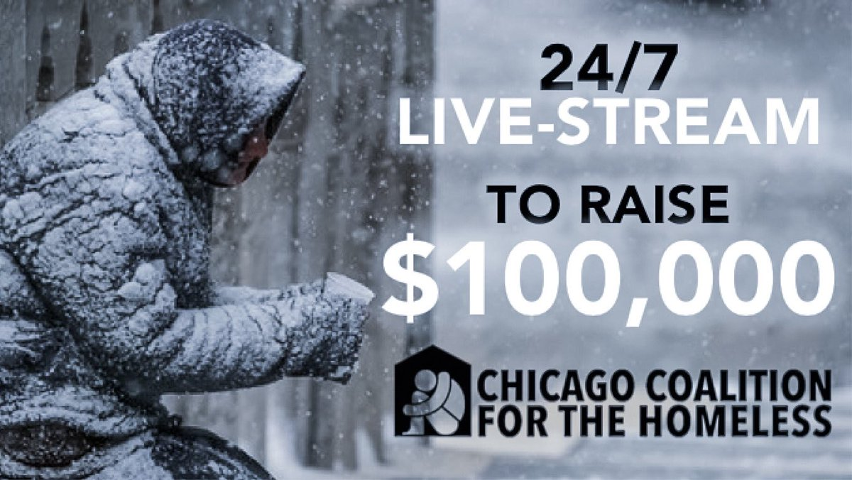 RT RT RT!   We are LIVE! https://youtu.be/dvmwzAVacRU  Help us raise $100,000 for the @ChiHomeless!  Tune in! Donate! Share! Anything helps!