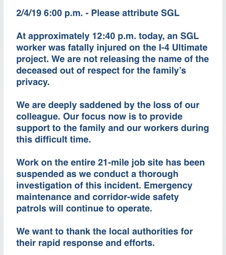 """""""We are deeply saddened by the loss of our colleague.""""    Officials from the construction company behind @I4Ultimate, SGL, say their focus now is on supporting the family of the worker who died and his colleagues.   Full statement:"""