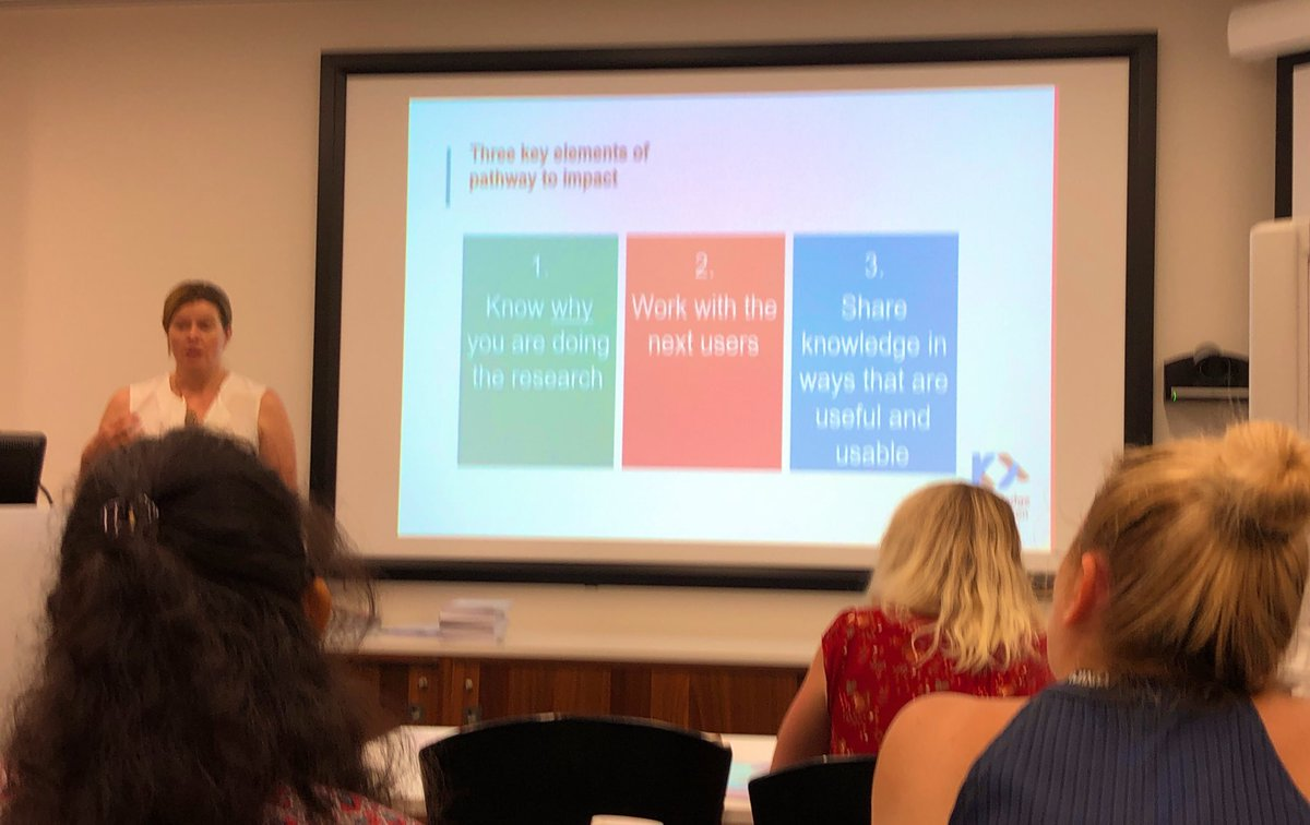 Learning today about   Knowledge Translation —> Impact   Via @KTAustralia with @SamMcCrabb   #KT #GoodForKids