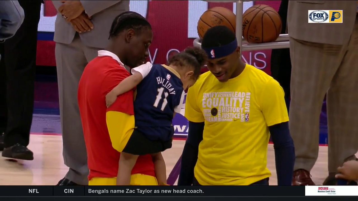 Well, that's just downright adorable. @The_4th_Holiday visits with @Jrue_Holiday11 and his niece. #Pacers