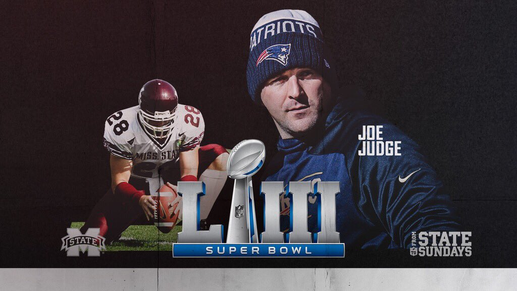 Congratulations to New England Patriots special teams coordinator and fellow Bulldog Joe Judge on a THIRD Super Bowl title!  #SBLlll | #HaiIState<br>http://pic.twitter.com/4bmTs4LMwD