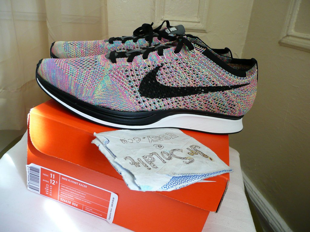 6e5d532a952a  249 + FREE SHIPPING   NIKE  FLYKNIT RACER multicolor 3.0 grey tongue Size  11