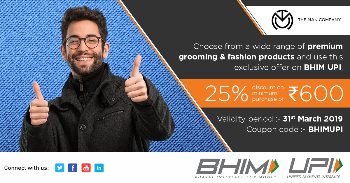 Get yourself premium men's grooming essentials from @themancompany & pay using BHIM UPI to avail this exclusive discount.  Shop now - http://bit.ly/TheManCompanyBHIMUPI…  #HighOnUPI #UPIOffers #Grooming