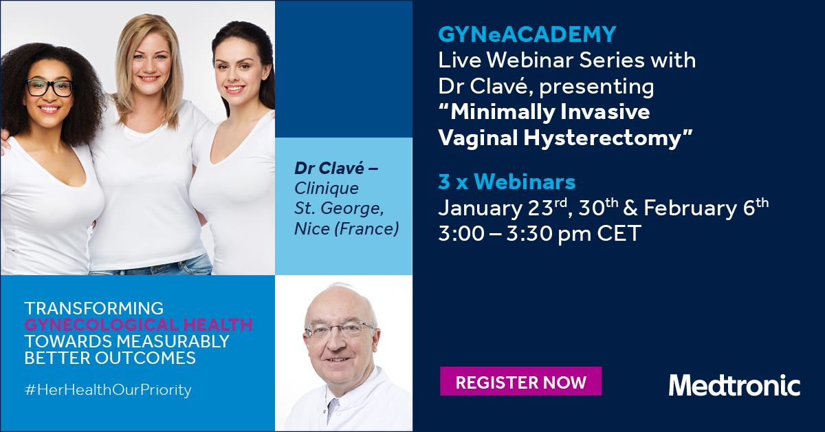 LIVE WEBINAR–REGISTER for Session 3  of our GYNeACADEMY webinars delivered by Dr. Henri Clavé, Gynaecologic Surgeon in the Clinique Saint George Nice, France. http://bit.ly/2HRbc1i  #Hysterectomy #HerHealthOurPriority
