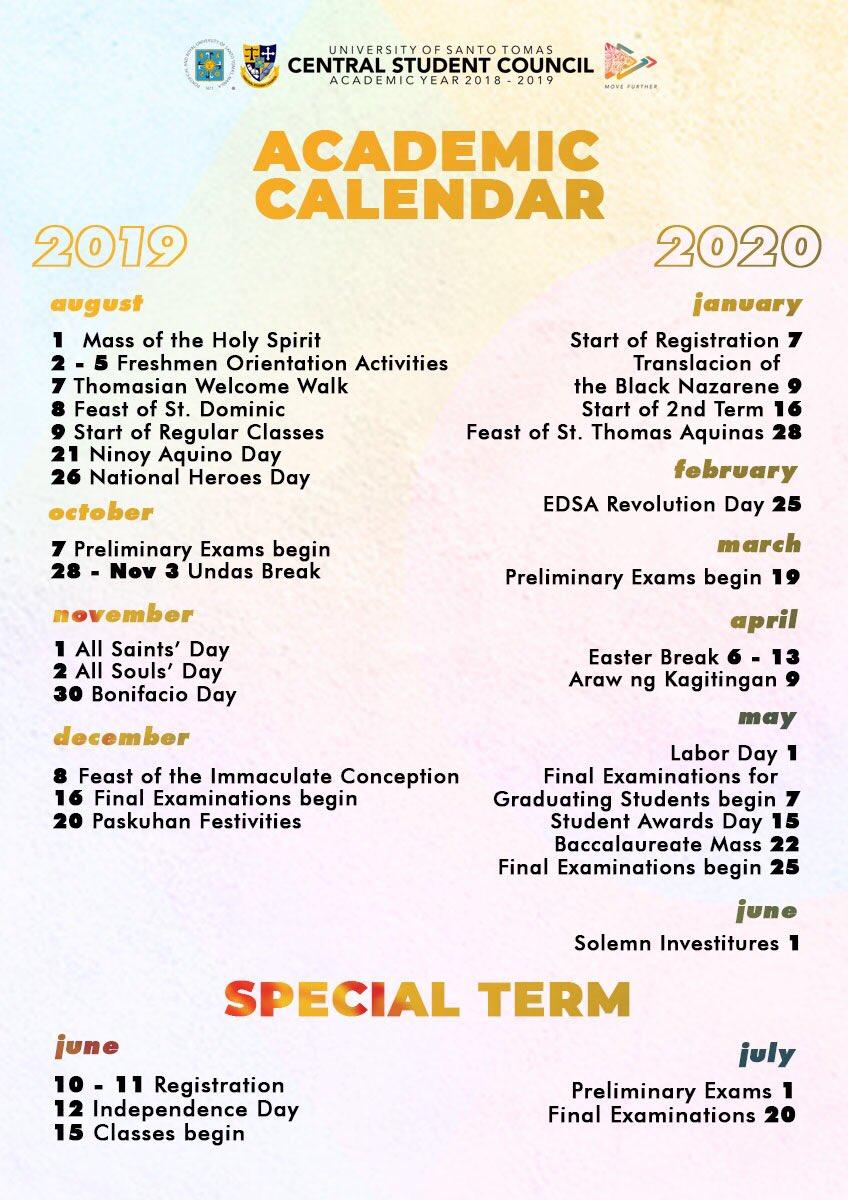 University Calendar 2020 UST CSC on Twitter: