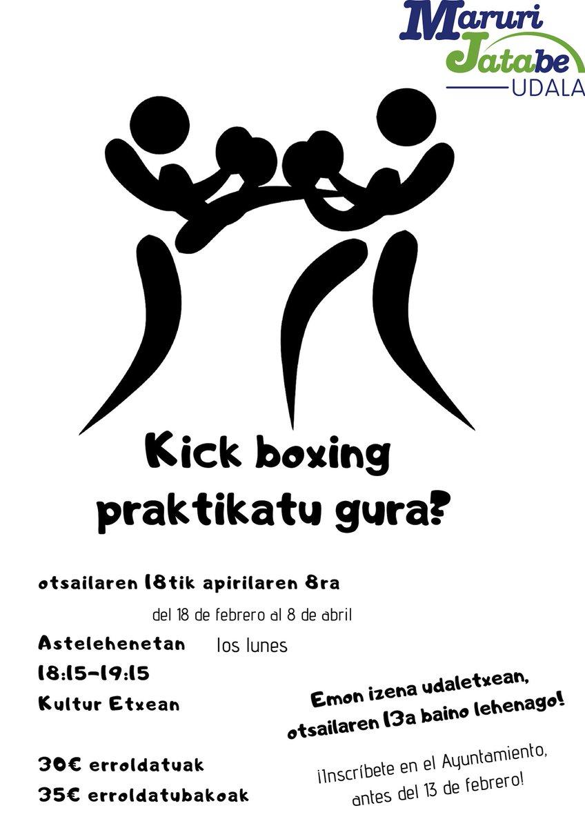 Kick boxing praktikatu gura? Inscríbete en nuestro taller! 30/35€ tailer osoa #Maruri-@Maruri_Jatabe  #Uribe #kirola https://t.co/CdrvyLIiFO
