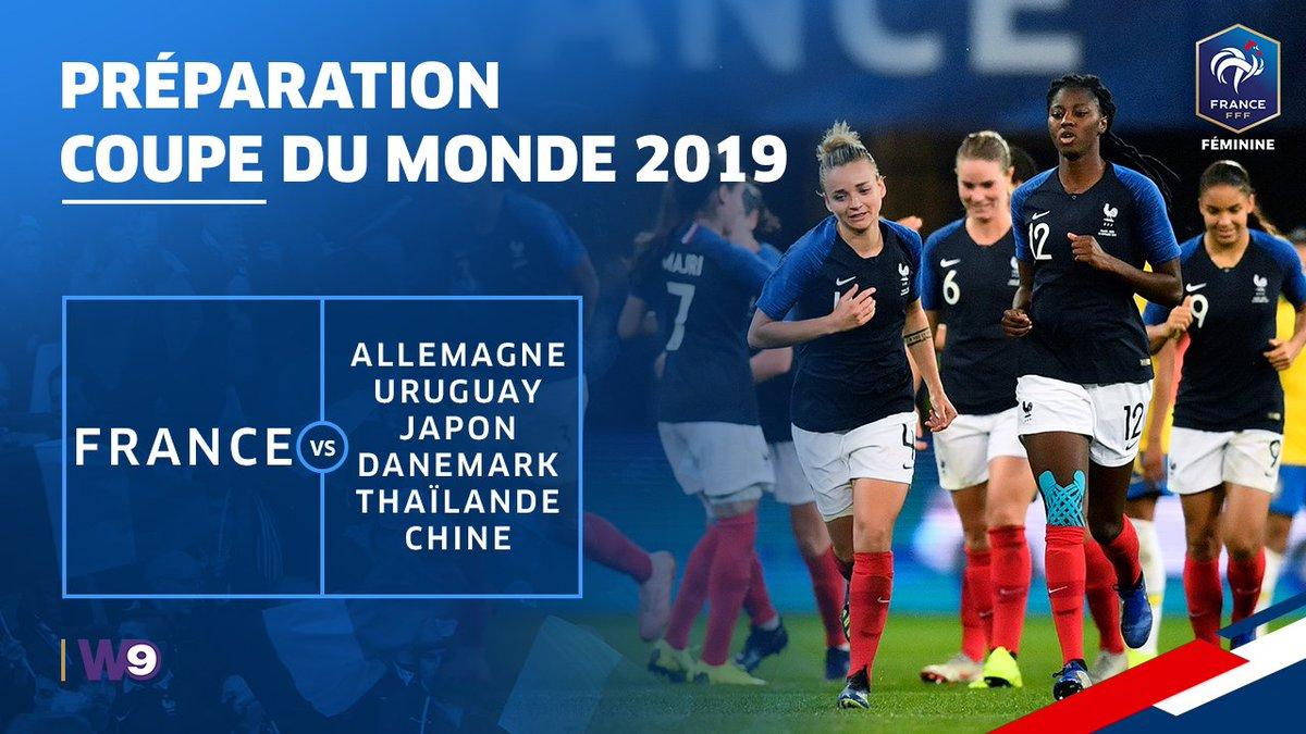 6 matchs au programme des Bleues pour la prépa à la Coupe du Monde Féminine 2019 👊  Allemagne 🇩🇪: 28/02 à Laval Uruguay 🇺🇾: 4/03 à Tours Japon 🇯🇵: 4/04 à Auxerre Danemark 🇩🇰: 8/04 à Strasbourg Thaïlande 🇹🇭: 25/05 à Orléans Chine 🇨🇳: 31/05 à Créteil  ➡ https://billetterie.fff.fr/
