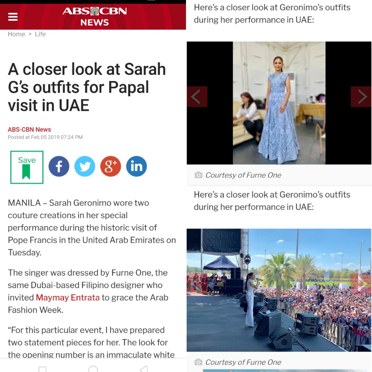 Thank you @ABSCBN ! @JustSarahG in @furneamato1 arranged by @YugenPR  So proud of #SarahGAtThePapalVisitUAE singing inspirational songs after the Holy Mass #PopeFrancisInUAE   https:// news.abs-cbn.com/life/02/05/19/ a-closer-look-at-sarah-gs-outfits-for-papal-visit-in-uae  … <br>http://pic.twitter.com/5TxLe4uipD
