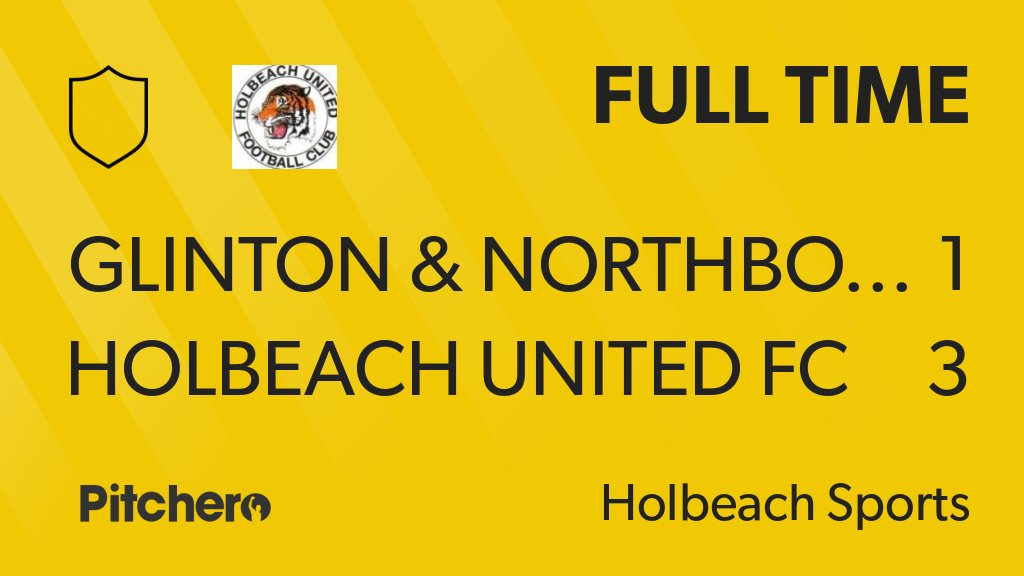 FULL TIME: Glinton & Northborough FC  1 - 3 Holbeach United FC #GLIHOL #Pitchero http://www.pitchero.com/clubs/holbeachunitedfc/teams/143100/match-centre/0-4295032?utm_campaign=score_update&utm_medium=post&utm_source=twitter&utm_content=FT …