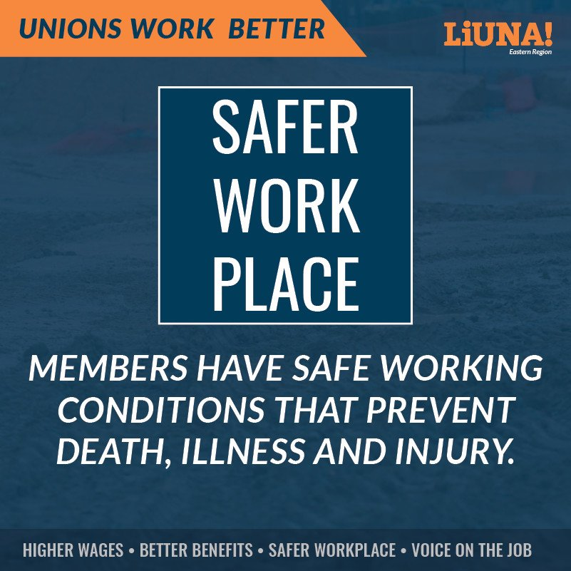 Want a safer #workplace? Join a #Union!  Union members have #safe working conditions that prevent #Death #illness & #injury.  For higher wages, better benefits, safer workplaces, and a voice on the job...  UNIONS 👏 WORK 👏 BETTER 👏  #LIUNA #UnionStrong #solidarity #1u