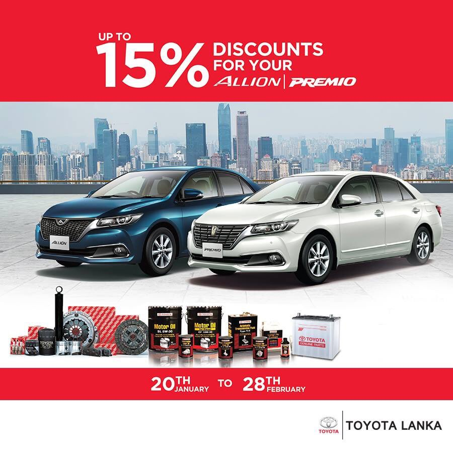 Bring your Allion / Premio for a service or repair and enjoy 15% discount for spare parts! Valid only till 28th February.   T&C apply! https://t.co/Hc7nwjZsLl