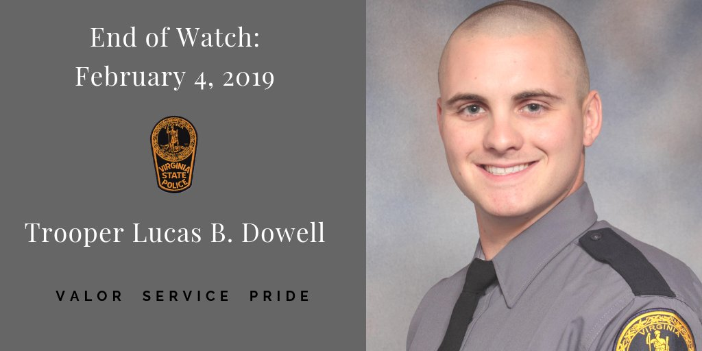 "1/2: ""This is an extremely difficult day for VSP,"" said Col. Gary T. Settle, VSP Superintendent. ""We are humbled by Lucas' selfless sacrifice and grateful for his dedicated service to the Commonwealth..."" #ThinBlueLine #NeverForget #ForeverRemembered @VaPSHS"