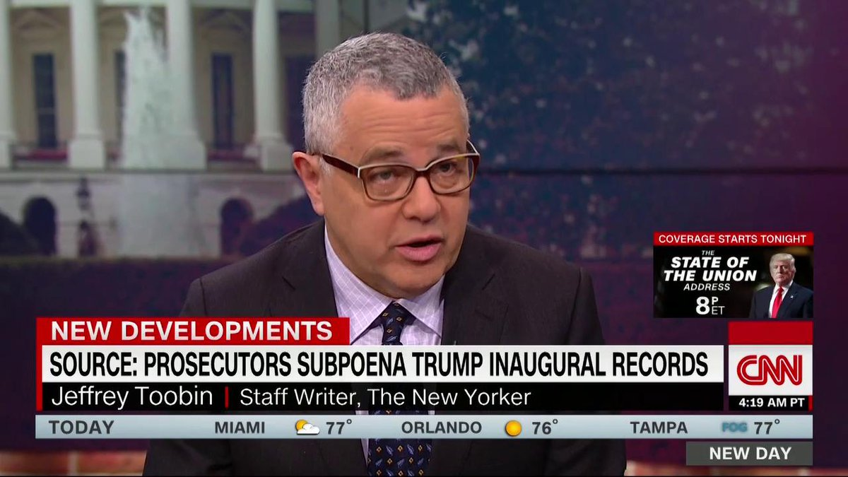 """""""What's under investigation right now? Trump's businesses, his campaign, his foundation, his inauguration. There has not been anything like the kind of stench of corruption around one president,"""" @JeffreyToobin says. """"Richard Nixon had nothing on this."""" https://cnn.it/2GplaEC"""