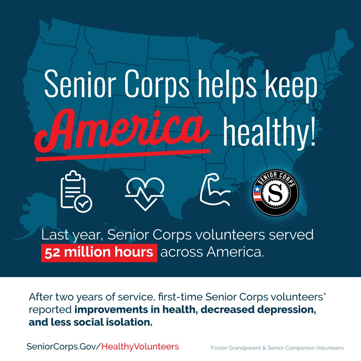 Great news! Older Americans who volunteer with @SeniorCorps report living happier and healthier lives, in addition to making a difference in their communities. Visit http://seniorcorps.gov/healthyvolunteers… to learn more about the new report. #SeniorCorpsWorks #HealthyVolunteers