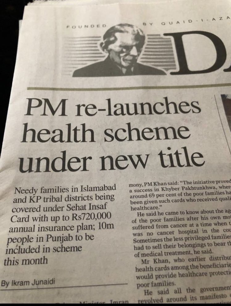 """2010: PPP launched Health Insurance Scheme called """"Waseela-e-Sehet""""   2015: PMLN re-launched same scheme of PPP wth new title PM National Health Programme  2019: PTI re-launched the same scheme under Sehat Insaf Card which was started by PPP in 2010 & continued by PMLN in 2015."""