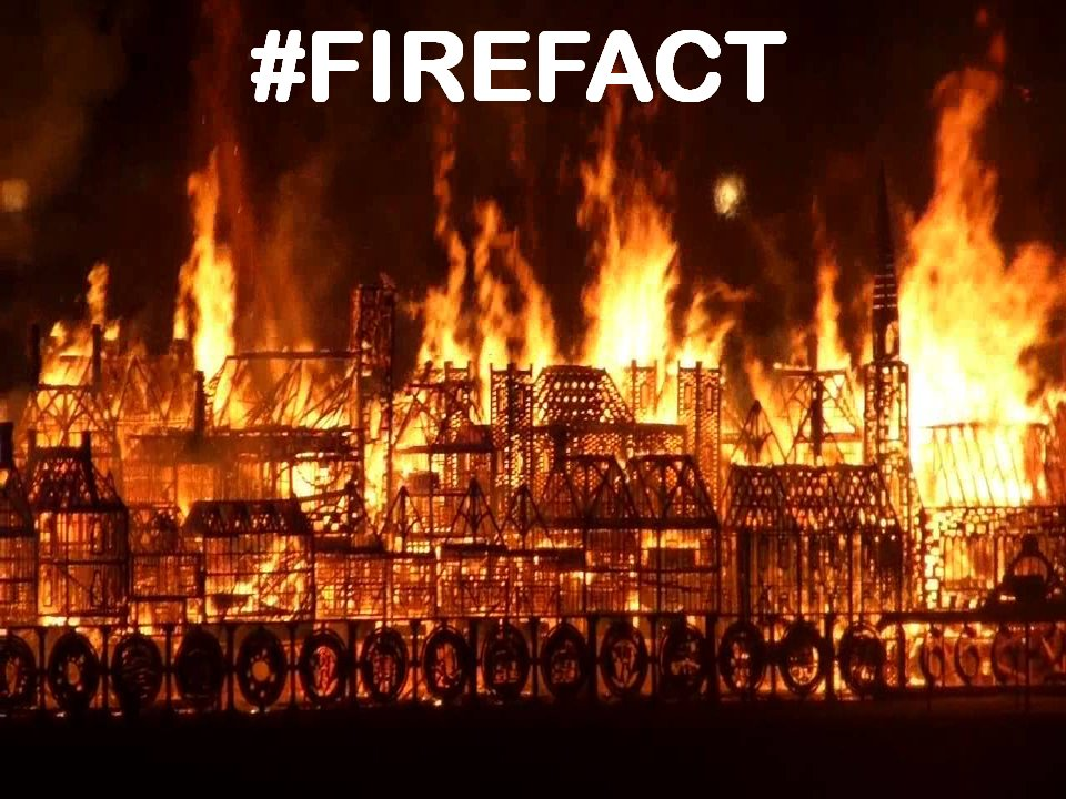 In the Great Fire of London in 1666, 80% of London was burnt down but only 6 people were injured. It burned out of control for 5 days and destroyed 13,000 homes and 87 churches it also ended the bubonic plague that killed 65,000 people as rats & fleas were fried! #firefact