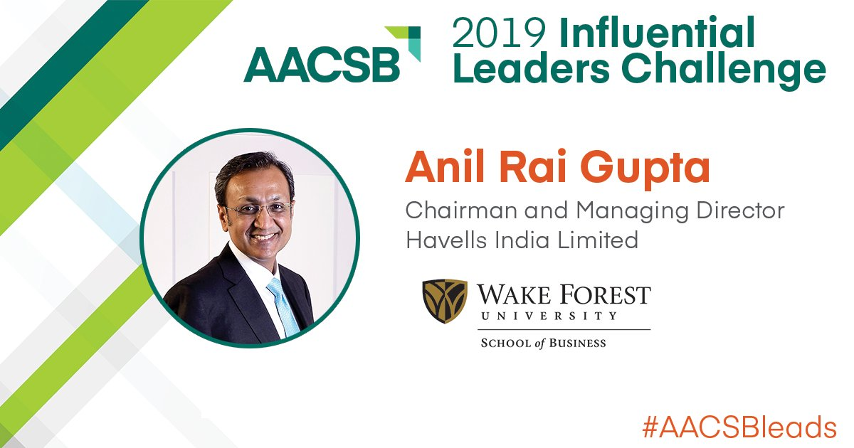 Excellence @WakeForestBiz  is changing the world! Congrats to @AnilRaiGupta (MBA '92, LLD '17) just named @AACSB 2019 Influential Leader https://t.co/bbJv1ZMNCg       #bizdeacs #AACSBleads #wakeforest #wakealumni