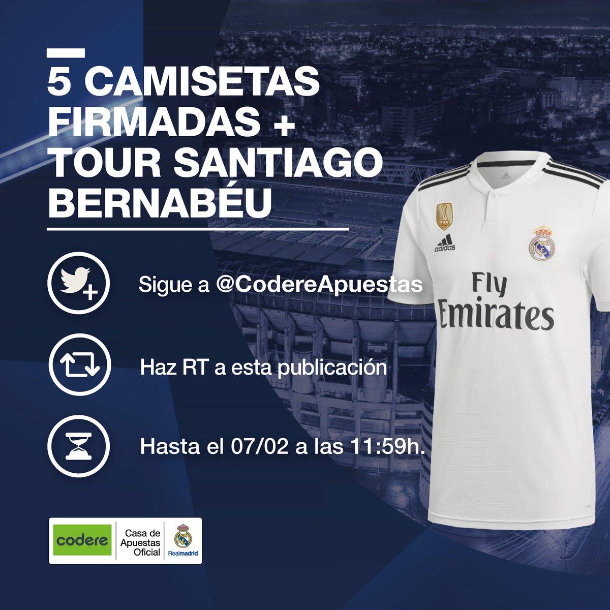 👕✍➕✌🏟 ¿Quieres ganar una CAMISETA firmada por los jugadores y una entrada doble para el TOUR del Santiago Bernabéu? ¡Tú puedes ser uno de los 5 afortunados! Sigue las instrucciones de la imagen...  @CodereApuestas | #HalaMadrid 👇